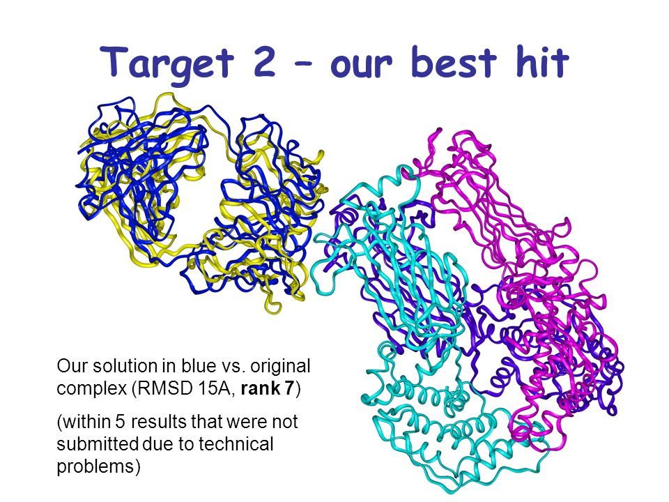 Target 2 – our best hit Our solution in blue vs. original complex (RMSD 15A, rank 7) (within 5 results that were not submitted due to technical proble