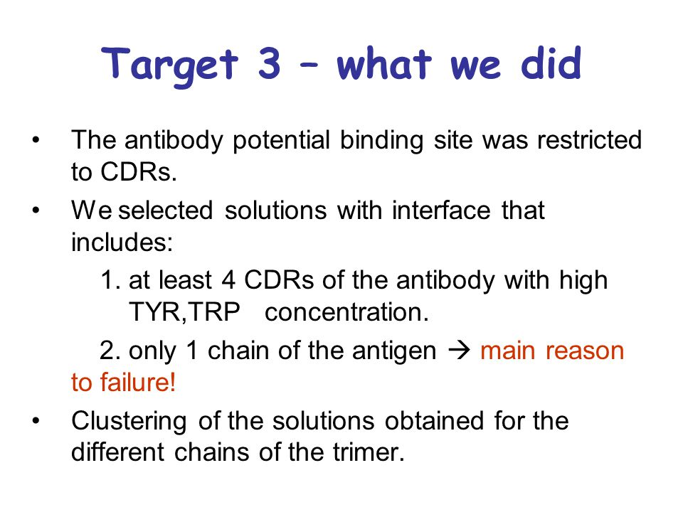 Target 3 – what we did The antibody potential binding site was restricted to CDRs. We selected solutions with interface that includes: 1. at least 4 C
