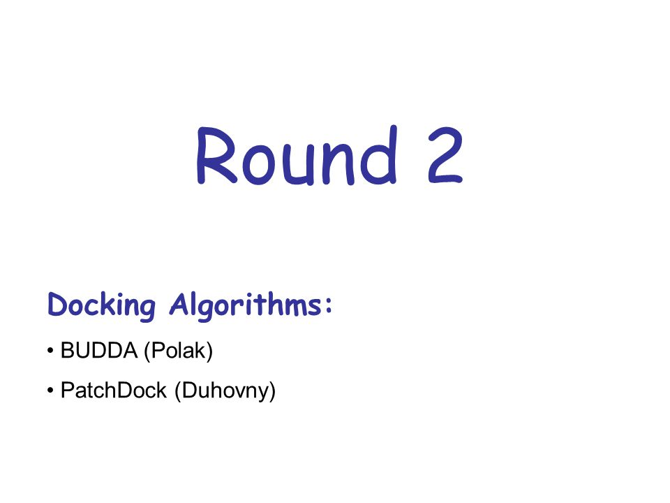 Round 2 Docking Algorithms: BUDDA (Polak) PatchDock (Duhovny)