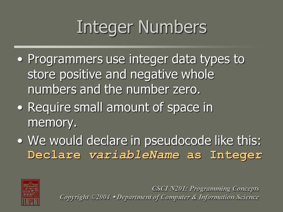 CSCI N201: Programming Concepts Copyright ©2004  Department of Computer & Information Science Integer Numbers Programmers use integer data types to s