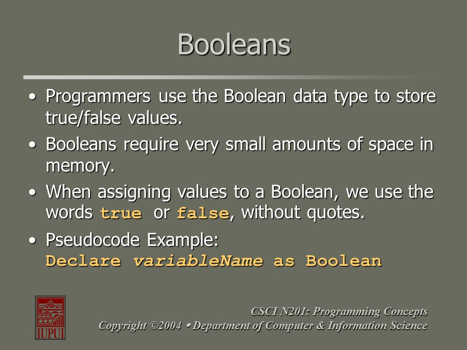 CSCI N201: Programming Concepts Copyright ©2004  Department of Computer & Information Science Booleans Programmers use the Boolean data type to store