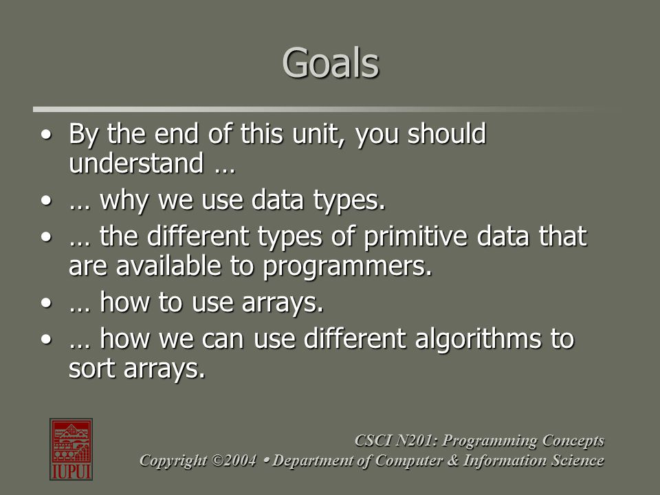 CSCI N201: Programming Concepts Copyright ©2004  Department of Computer & Information Science Goals By the end of this unit, you should understand …B