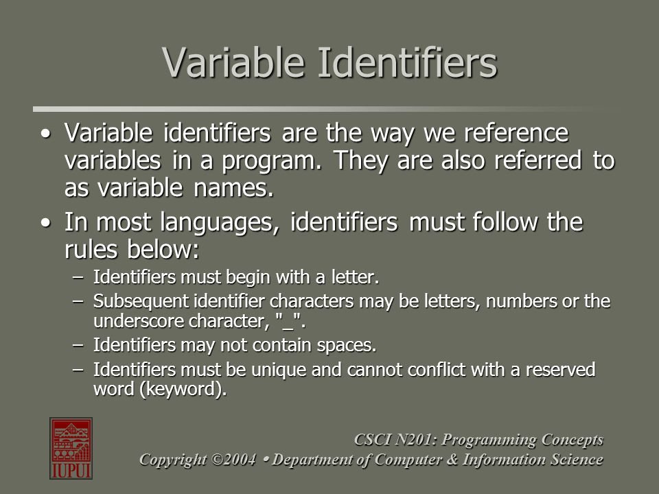 CSCI N201: Programming Concepts Copyright ©2004  Department of Computer & Information Science Variable Identifiers Variable identifiers are the way w