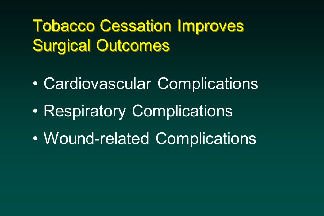 Tobacco Cessation Improves Surgical Outcomes Cardiovascular Complications Respiratory Complications Wound-related Complications