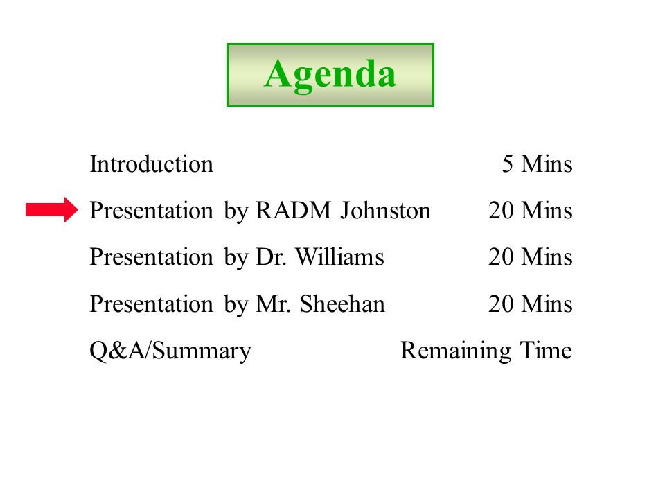 Agenda Introduction 5 Mins Presentation by RADM Johnston20 Mins Presentation by Dr.
