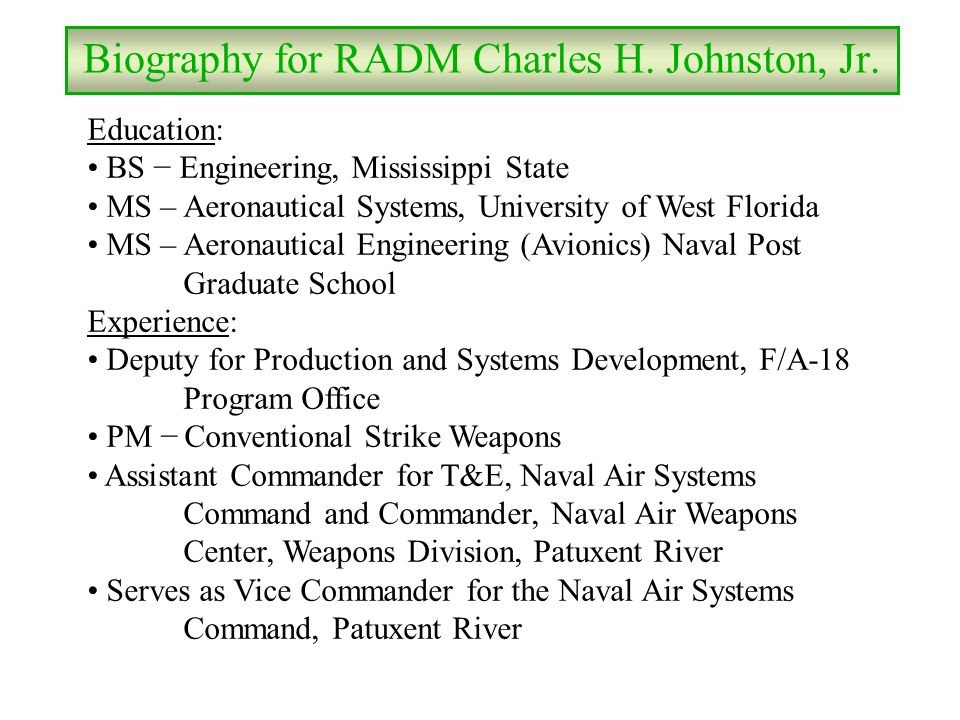 Biography for RADM Charles H. Johnston, Jr.