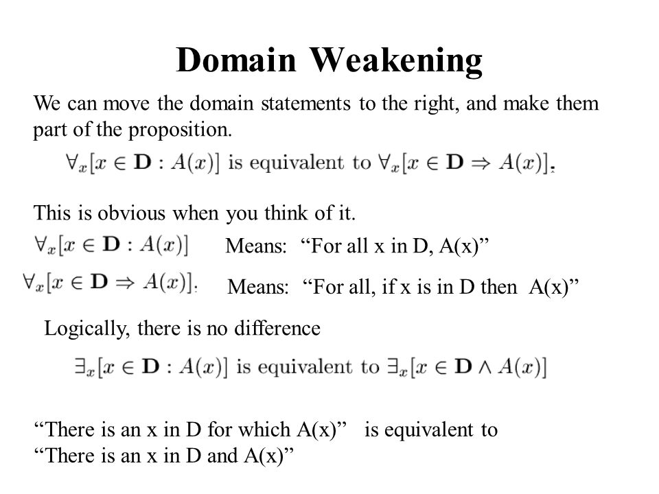 Domain Weakening We can move the domain statements to the right, and make them part of the proposition.