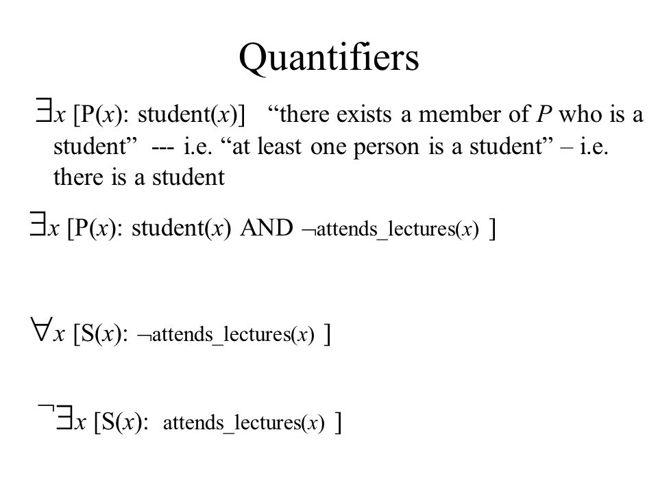 Quantifiers  x [P(x): student(x)] there exists a member of P who is a student --- i.e.