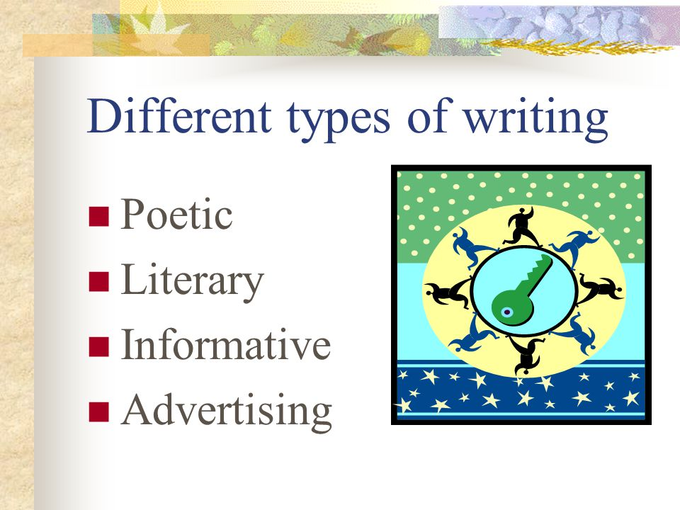 Different types of writing Poetic Literary Informative Advertising