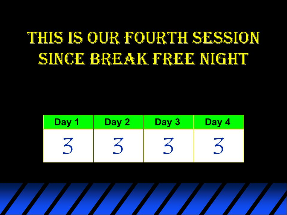 This is our fourth session since break free night Day 1 3 Day 2 3 Day 3 3 Day 4 3