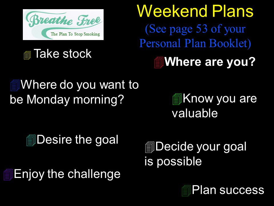 4 Take stock 4Where are you? 4Where do you want to be Monday morning? 4Know you are valuable 4Desire the goal 4Decide your goal is possible 4Enjoy the