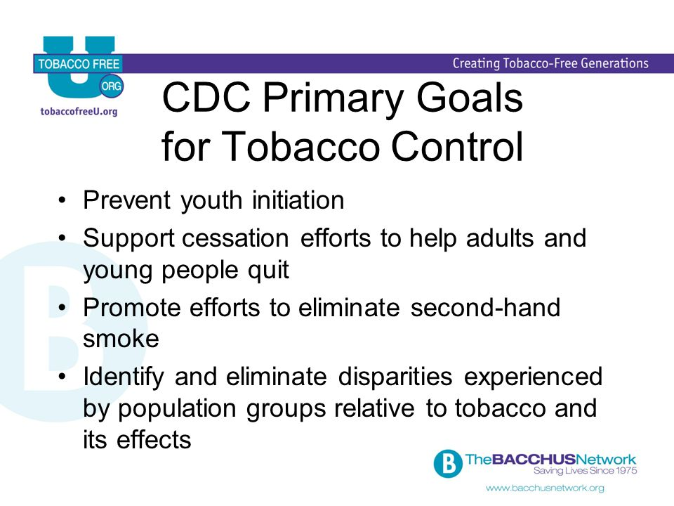 CDC Primary Goals for Tobacco Control Prevent youth initiation Support cessation efforts to help adults and young people quit Promote efforts to eliminate second-hand smoke Identify and eliminate disparities experienced by population groups relative to tobacco and its effects