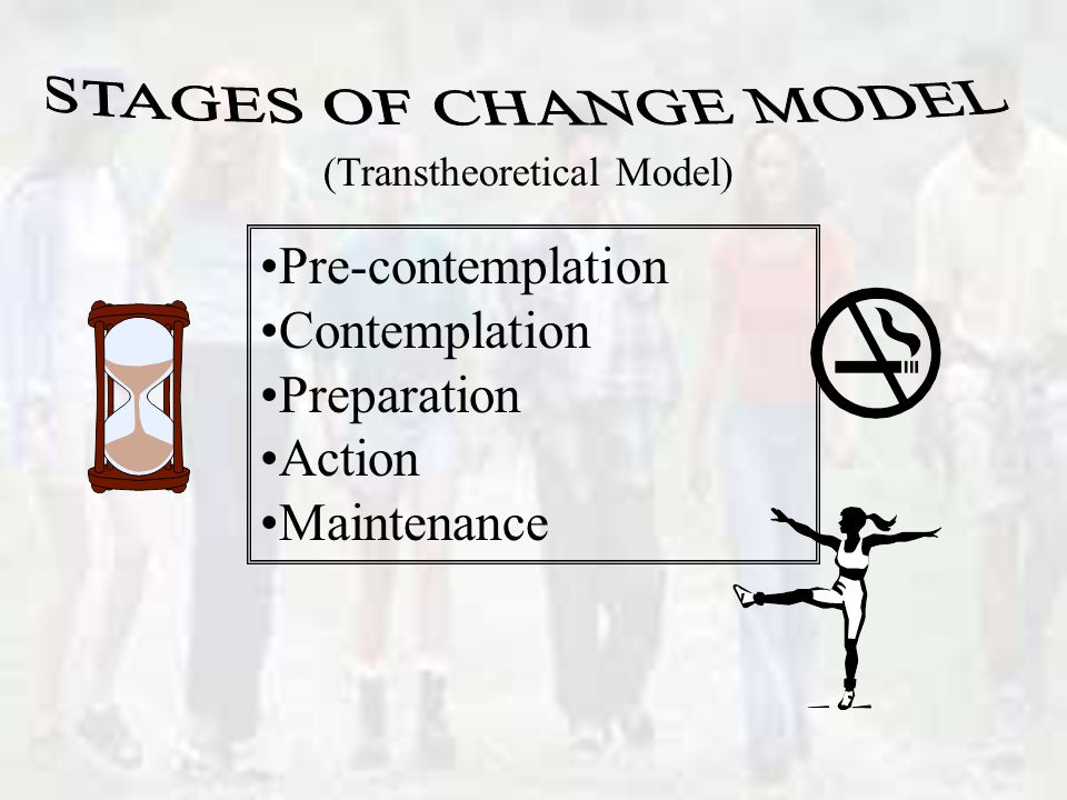 Pre-contemplation Contemplation Preparation Action Maintenance (Transtheoretical Model)