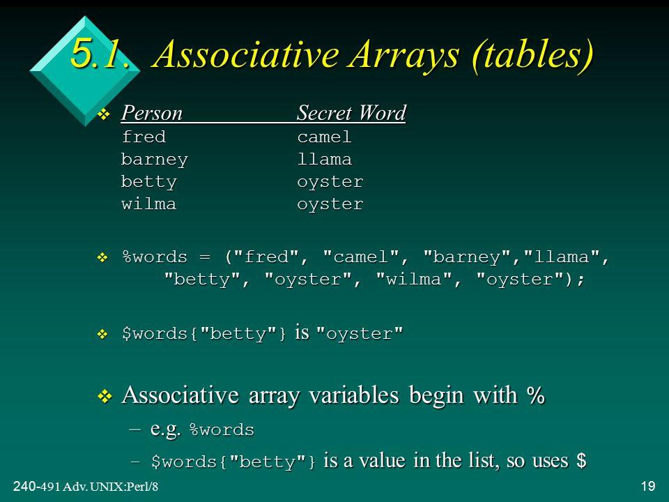 240-491 Adv. UNIX:Perl/819 5.1.