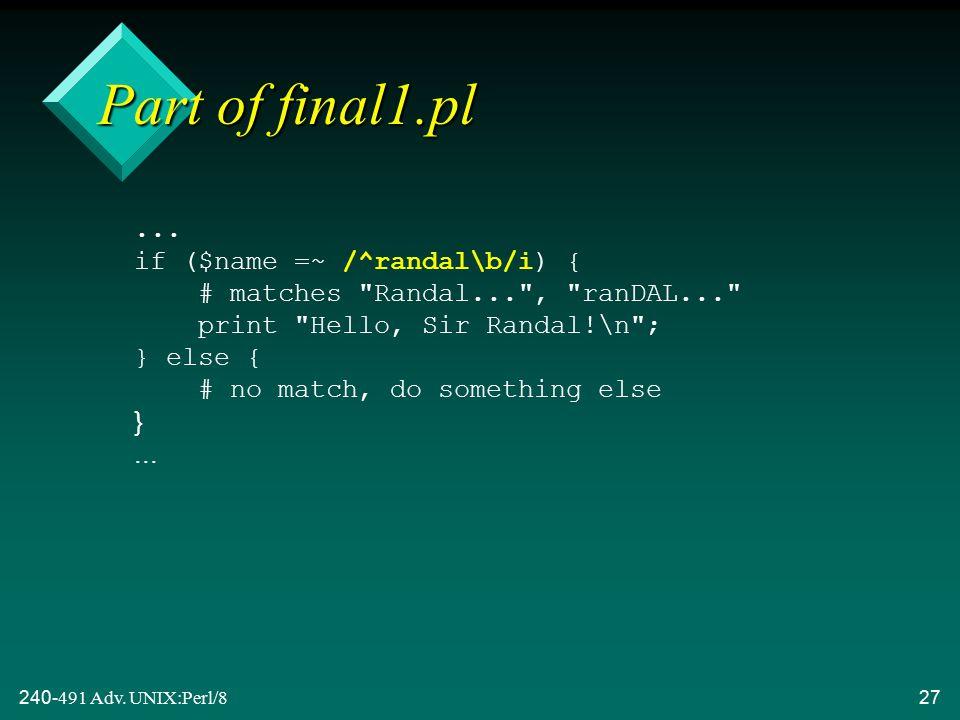 240-491 Adv. UNIX:Perl/827...