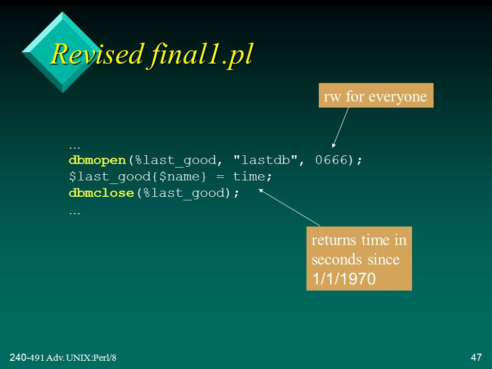 240-491 Adv. UNIX:Perl/847...