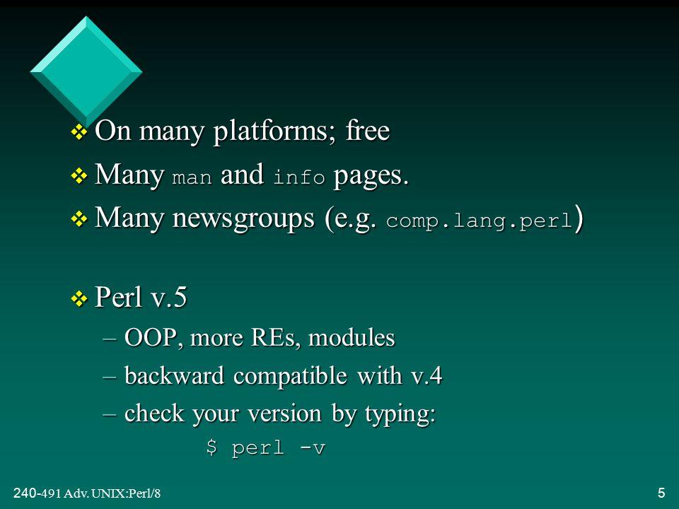 240-491 Adv.UNIX:Perl/86 1.1. Books v Learning Perl Randal L.