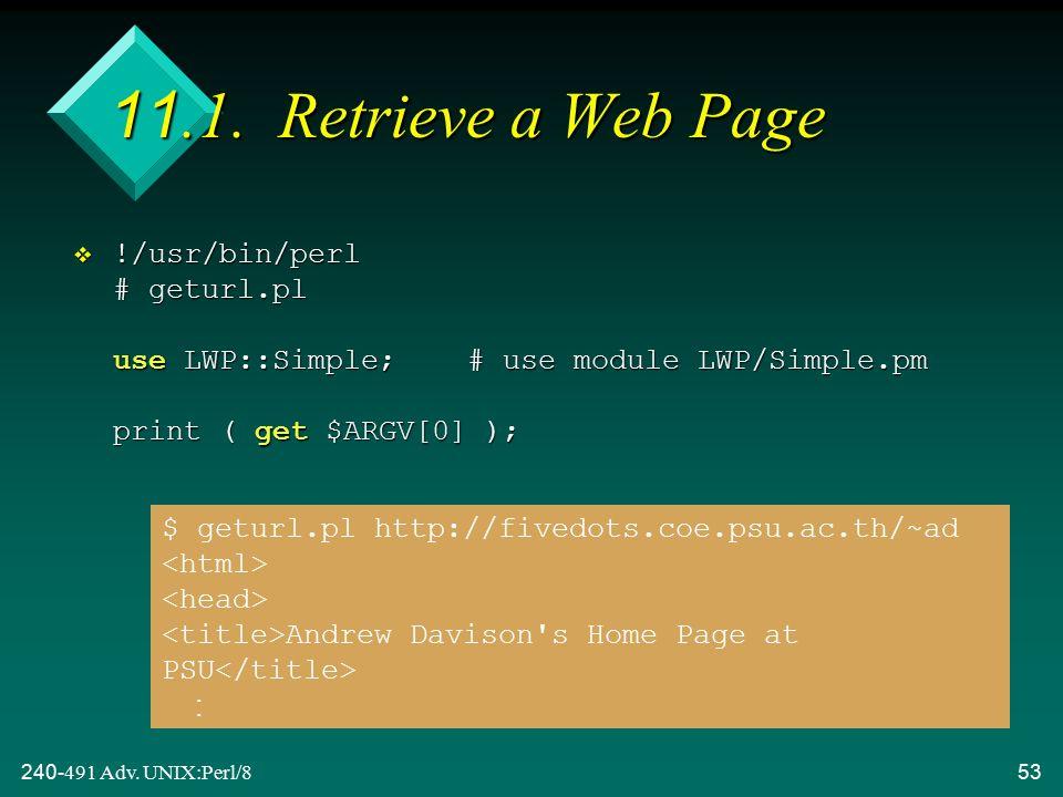 240-491 Adv. UNIX:Perl/853 11.1.