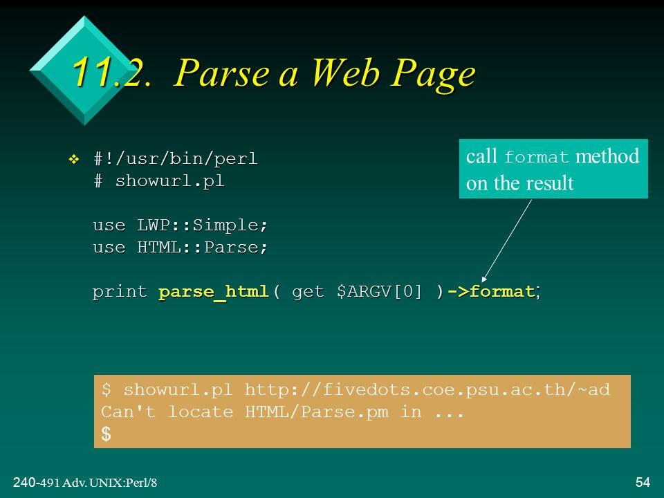 240-491 Adv. UNIX:Perl/854 11.2.