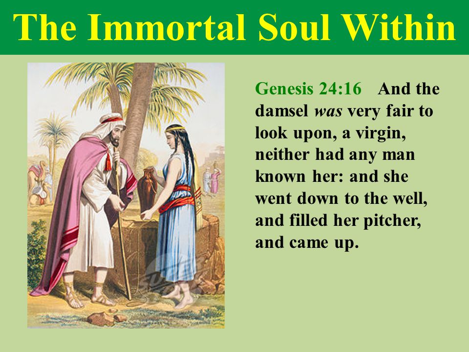 The Immortal Soul Within Genesis 24:16 And the damsel was very fair to look upon, a virgin, neither had any man known her: and she went down to the well, and filled her pitcher, and came up.