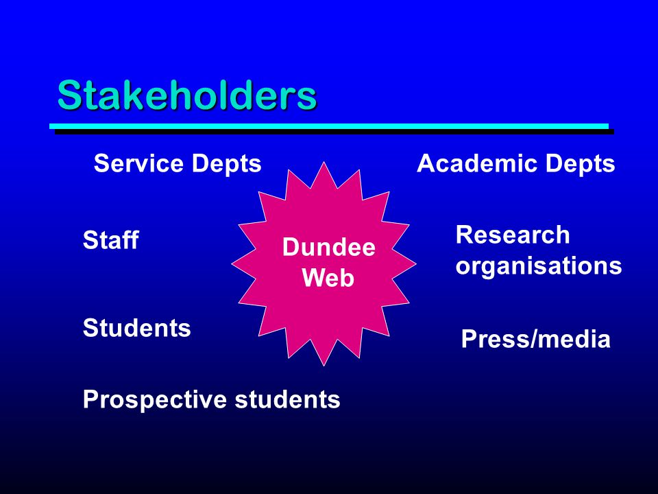 Stakeholders Service DeptsAcademic Depts Staff Students Prospective students Research organisations Press/media Dundee Web