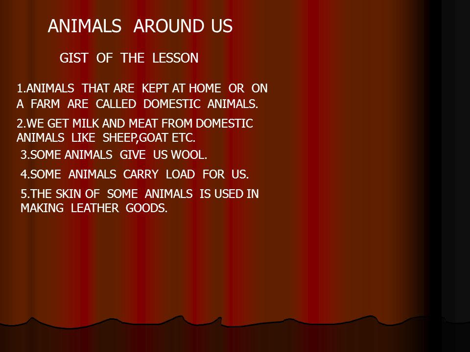 ANIMALS AROUND US GIST OF THE LESSON 1.ANIMALS THAT ARE KEPT AT HOME OR ON A FARM ARE CALLED DOMESTIC ANIMALS. 2.WE GET MILK AND MEAT FROM DOMESTIC AN