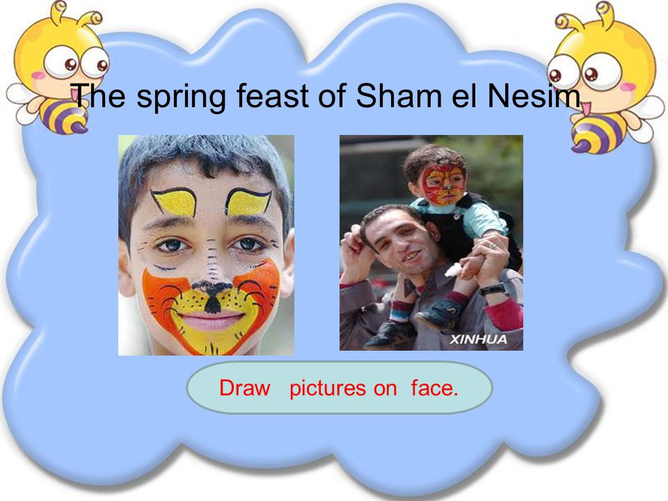 The spring feast of Sham el Nesim Draw pictures on eggs A kind of traditional food