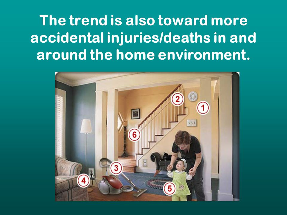 The trend is also toward more accidental injuries/deaths in and around the home environment.