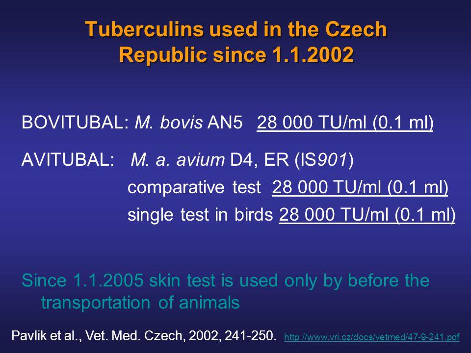 Tuberculins used in the Czech Republic since 1.1.2002 BOVITUBAL: M.