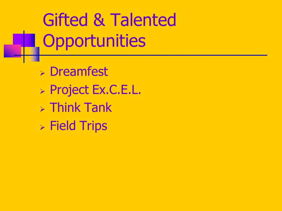 Gifted & Talented Opportunities  Dreamfest  Project Ex.C.E.L.  Think Tank  Field Trips