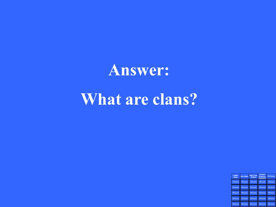 Answer: What are clans?