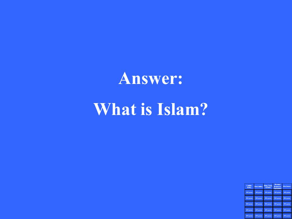 Answer: What is Islam?