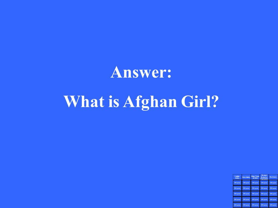 Answer: What is Afghan Girl?