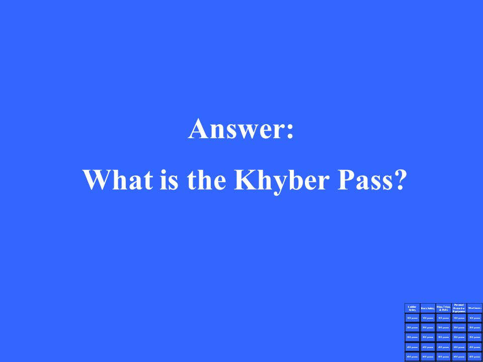 Answer: What is the Khyber Pass?