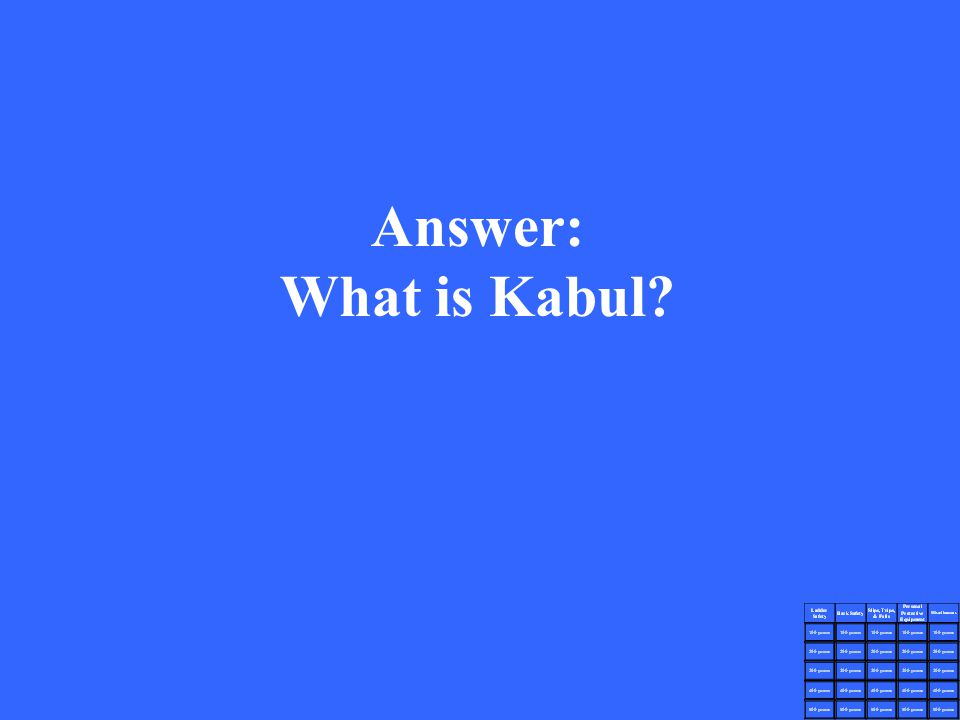 Answer: What is Kabul?