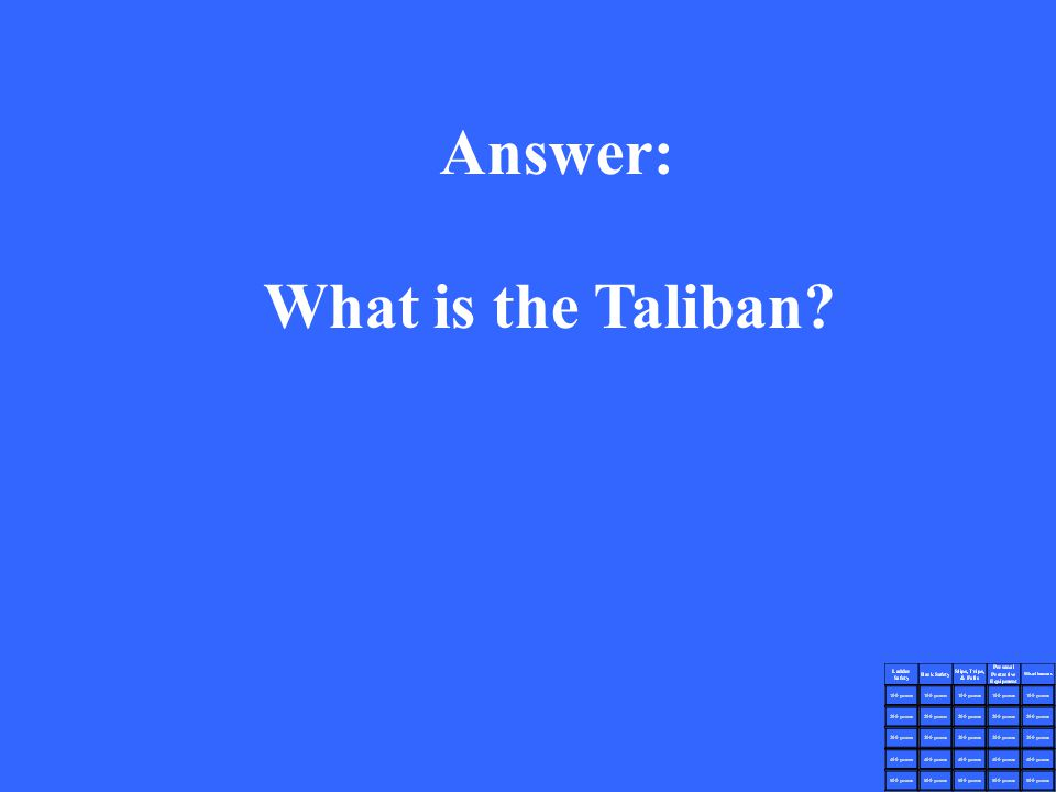 Answer: What is the Taliban