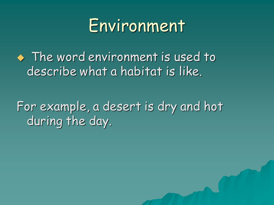 Environment  The word environment is used to describe what a habitat is like.