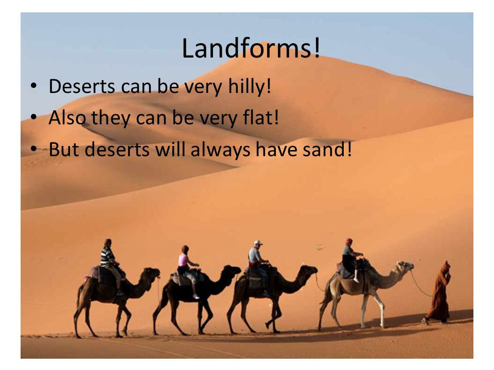 Landforms! Deserts can be very hilly! Also they can be very flat! But deserts will always have sand!