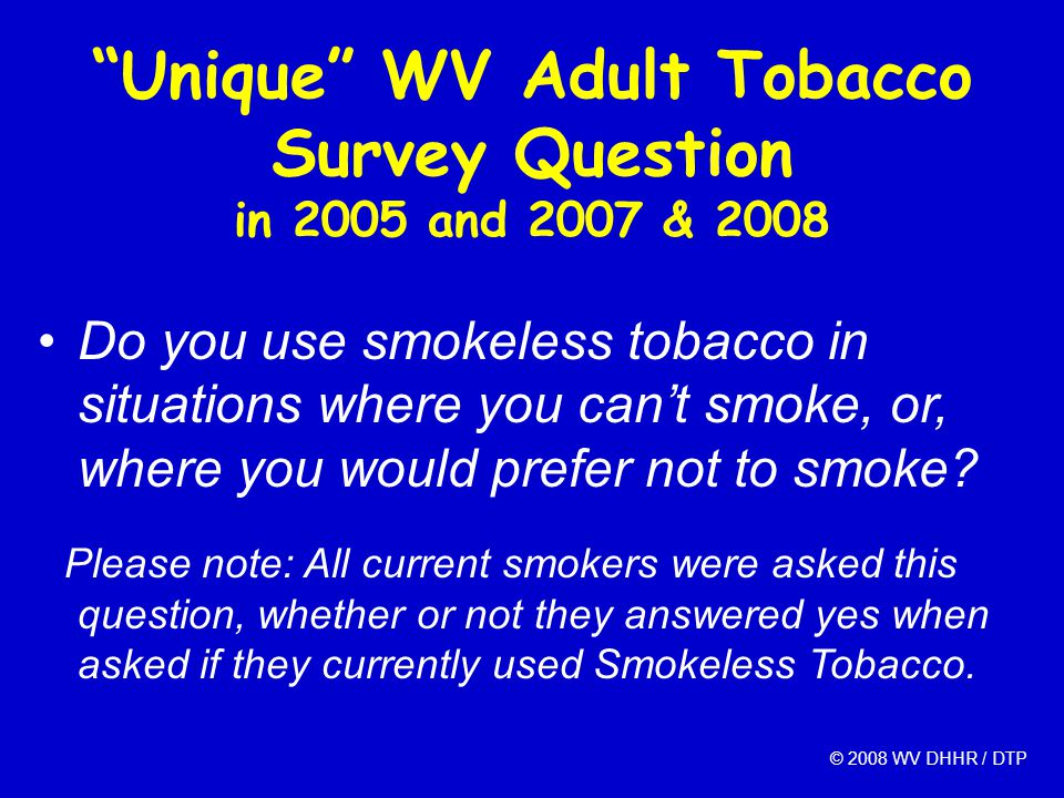 """Unique"" WV Adult Tobacco Survey Question in 2005 and 2007 & 2008 Do you use smokeless tobacco in situations where you can't smoke, or, where you woul"