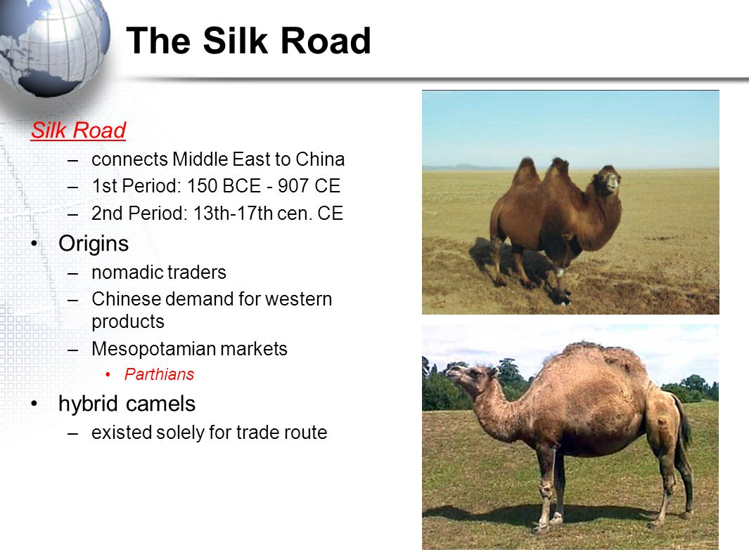 The Silk Road Silk Road –connects Middle East to China –1st Period: 150 BCE - 907 CE –2nd Period: 13th-17th cen. CE Origins –nomadic traders –Chinese