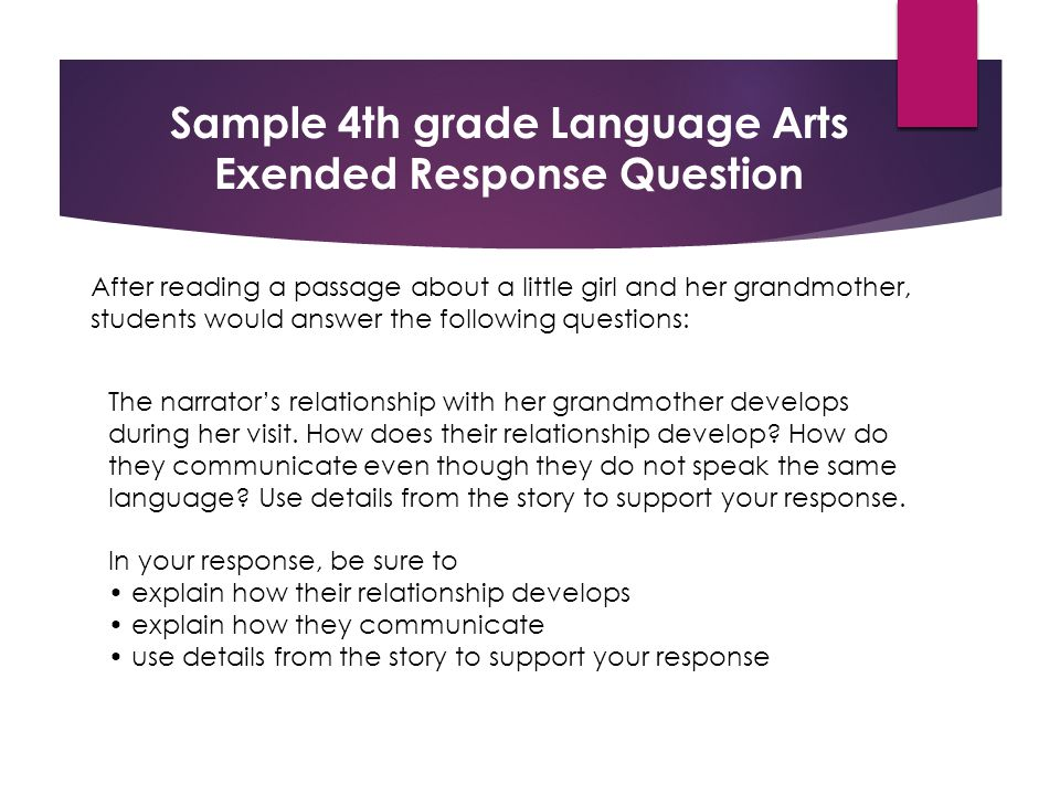 Sample 4th grade Language Arts Exended Response Question The narrator's relationship with her grandmother develops during her visit.