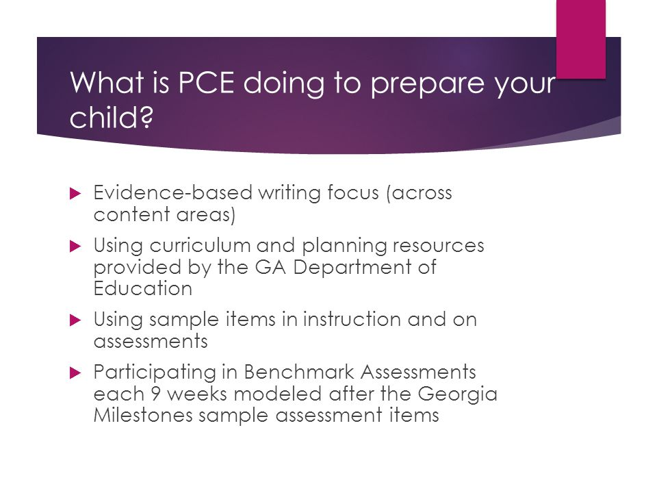 What is PCE doing to prepare your child.