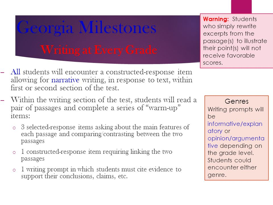 Georgia Milestones Writing at Every Grade – All students will encounter a constructed-response item allowing for narrative writing, in response to text, within first or second section of the test.