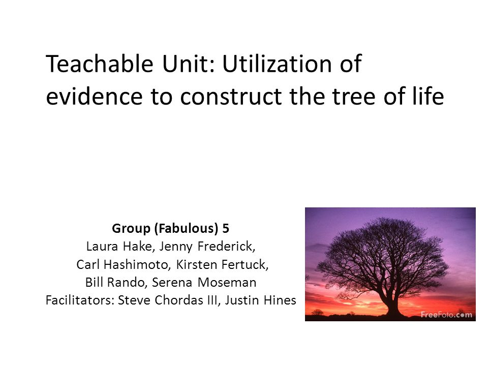 Teachable Unit: Utilization of evidence to construct the tree of life Group (Fabulous) 5 Laura Hake, Jenny Frederick, Carl Hashimoto, Kirsten Fertuck, Bill Rando, Serena Moseman Facilitators: Steve Chordas III, Justin Hines