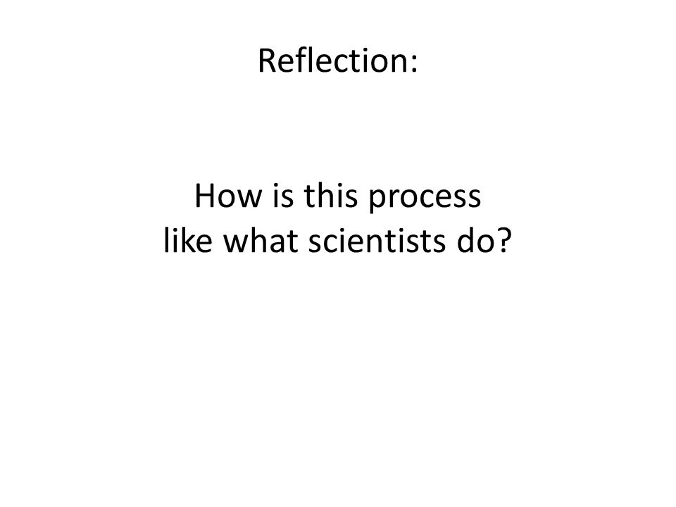 Reflection: How is this process like what scientists do