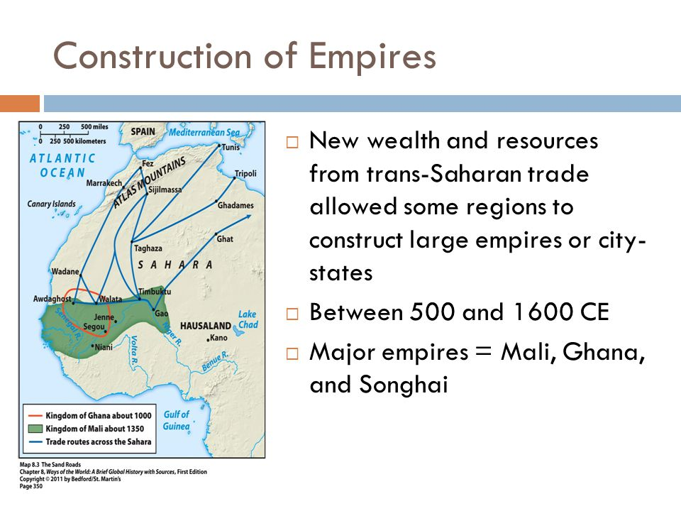 Construction of Empires  New wealth and resources from trans-Saharan trade allowed some regions to construct large empires or city- states  Between