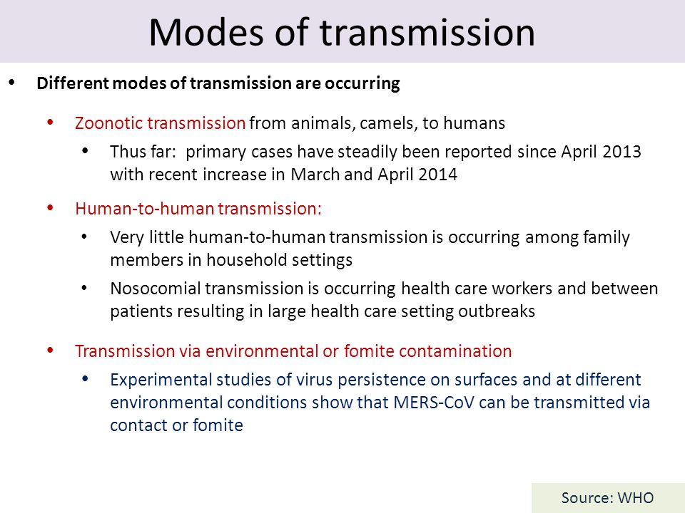 Modes of transmission  Different modes of transmission are occurring  Zoonotic transmission from animals, camels, to humans  Thus far: primary case