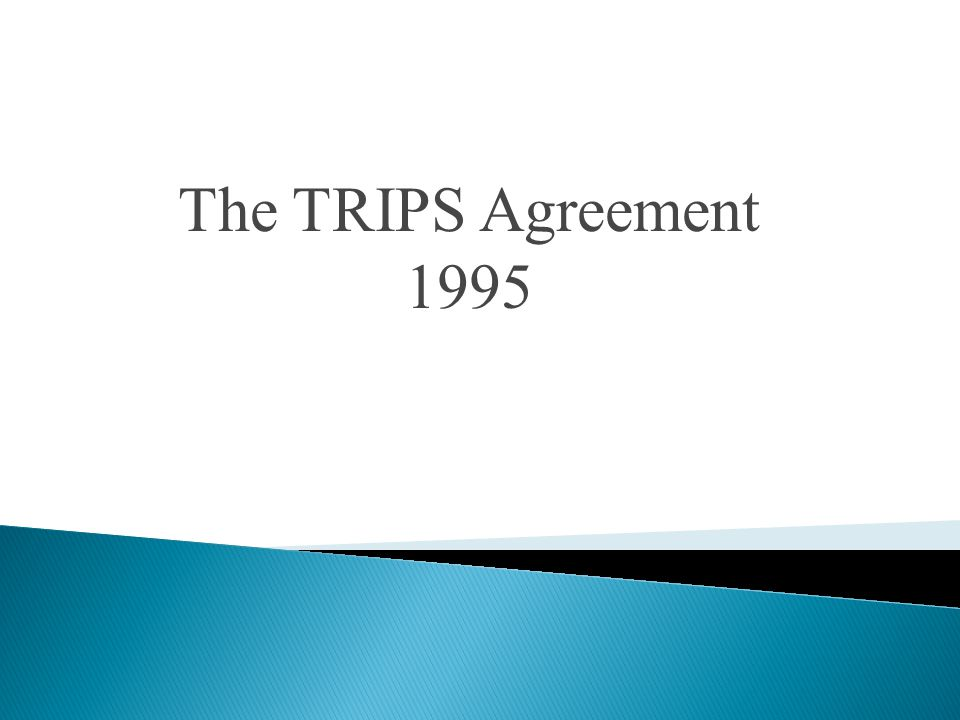 The TRIPS Agreement 1995
