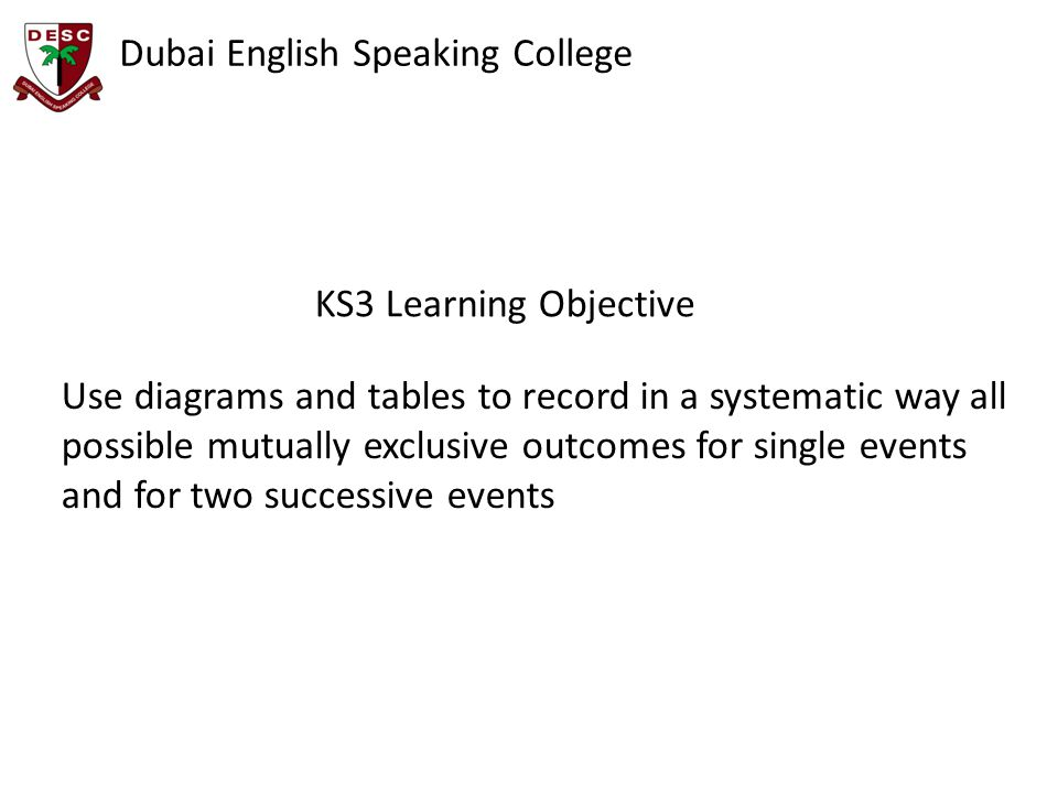 KS3 Learning Objective Use diagrams and tables to record in a systematic way all possible mutually exclusive outcomes for single events and for two successive events