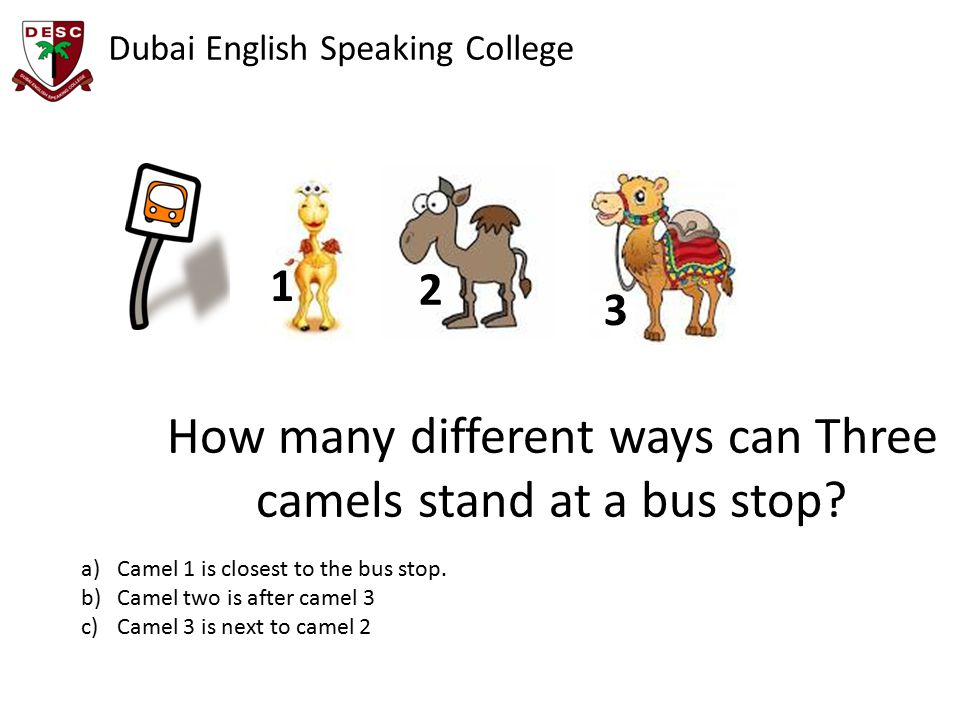 Dubai English Speaking College How many different ways can Three camels stand at a bus stop.